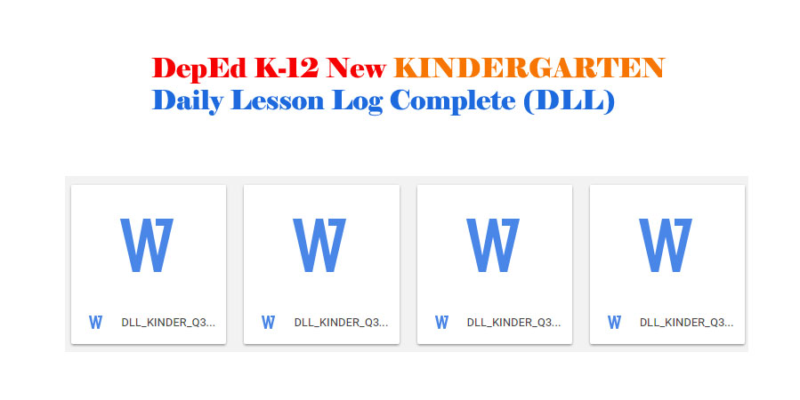 DepEd K-12 New KINDERGARTEN Daily Lesson Log Complete (DLL)