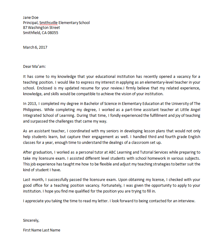 Sample application letter for teacher without experience sample application letter for nursing aide without altavistaventures Gallery